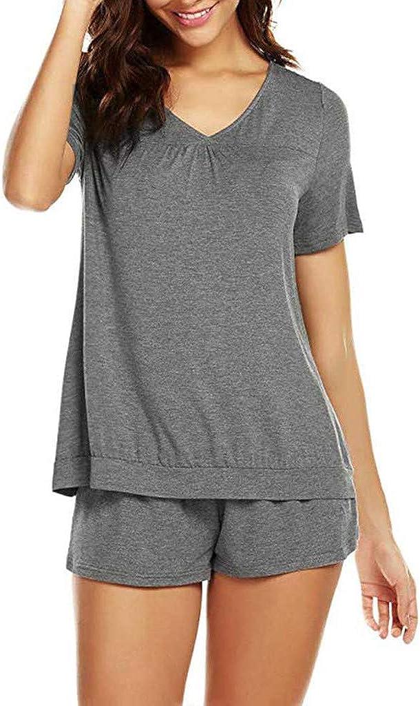 Proumy Pijama Básica Mujer Verano Camiseta Sólida con Calzoncillos Blusa Talla Grande Conjunto de Camisa Transpirable Dos Piezas de Batas Largas Ropa ...