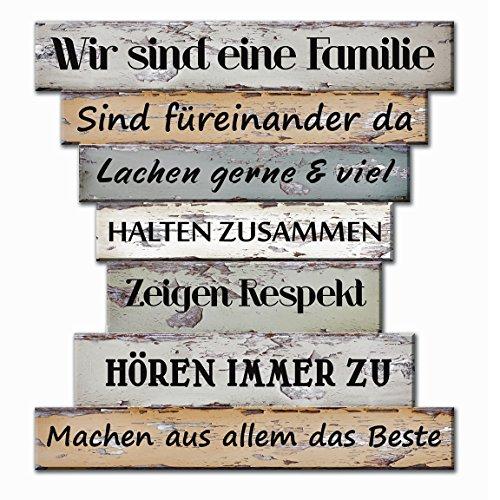 Bada Bing Planken Schild Familie Familienregeln klein 32 x 30 Wandschild Bild Spruch Deko 122