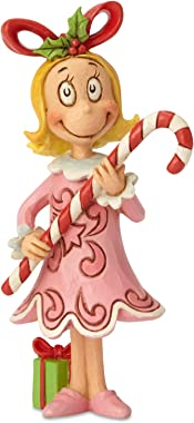 "Enesco Dr. Seuss The Grinch by Jim Shore Cindy Lou with Candy Cane Figurine, 4.72"", Multicolor"