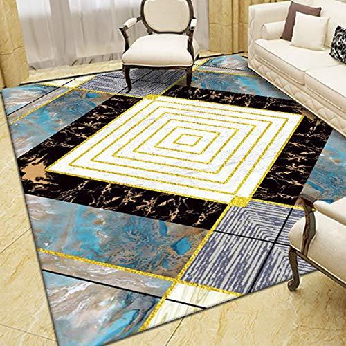 Sala De Estar Imitación Cashmere Alfombra Color Moderna Rectangular Patrón Geométrico Alfombra(Size:120x160cm)