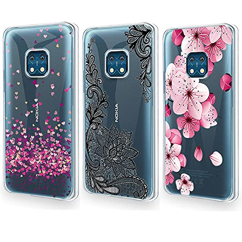 QFSM 3 Pack Cover per Nokia XR20 Trasparente Stile Semplice Guscio Silicone Morbido TPU Case Soft Shell Skin Protezione Custodia - Amore + Fiore Nero + Fiore di Pesco