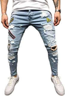 Mens Casual Slim Fit Jeans Hipster Patchwork Ripped Ankle Trousers Tapered Leg Long Pants