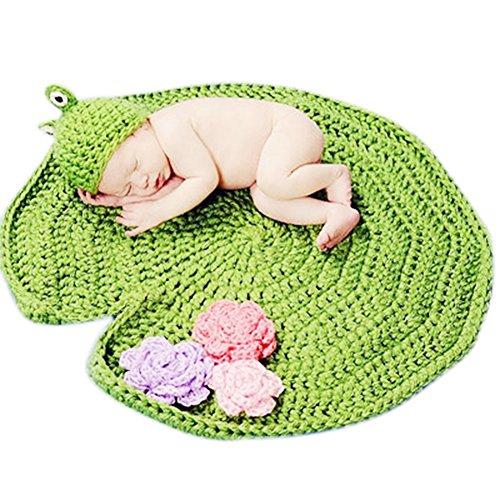 CandoraTM - Berretto per neonato e bambina, lavorato all'uncinetto, cappello da bruco affamato, per feste e servizi fotografici (rana)