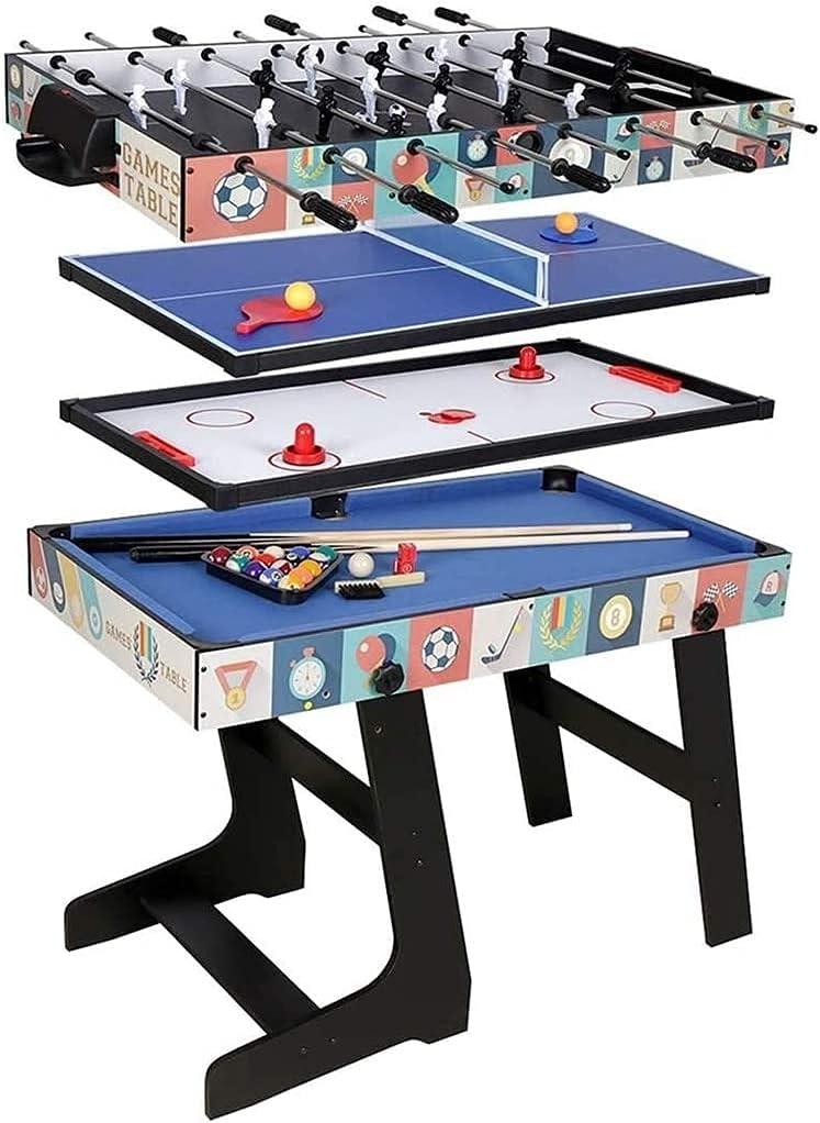 DFGER 4 en 1 Mesa de Juegos combinada, Tabla Multifuncional, Regalo de cumpleaños Incluye fútbol Hockey de Hockey de Hockey de bolígrafo Tenis mesas de Billar (Color : Default)