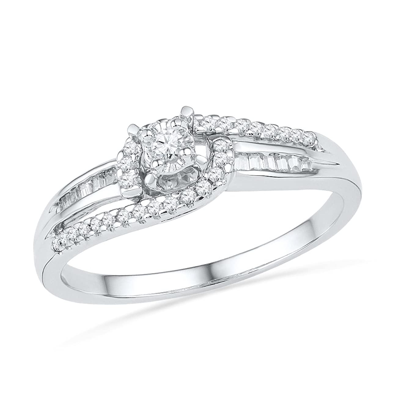 D-GOLD Sterling Silver Baguette and Round Diamond Promise Ring (1/5 CTTW)