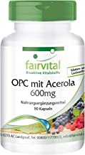 OPC 600mg con Vitamina C - de Extracto de Semilla de Uva + Acerola - VEGANO - Dosis elevada - 90 Cápsulas - Calidad Alemana
