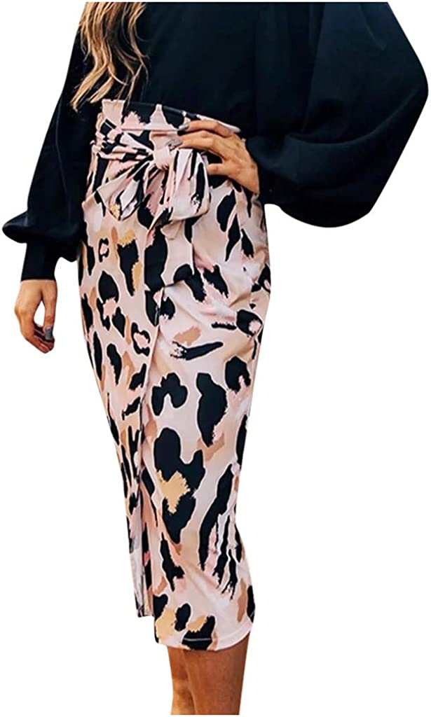 UOFOCO Women Casual Leopard Print High Waist Bandage Tight Fitting Midi Skirt