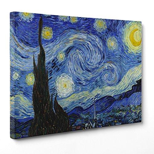 ConKrea - Cuadro sobre lienzo, listo para colgar, diseño de Noche estrellada de Van Gogh