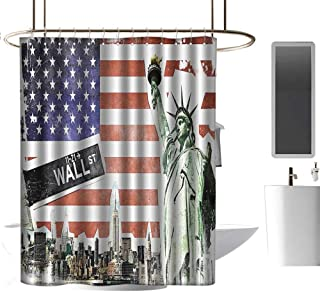 Brandosn Shower Curtains with Shower Hooks American Flag Decor,NYC Collage with Famous Monuments Wall Street and Manhattan Urban Display,Multi Waterproof Polyester Fabric W48 xH84 inch