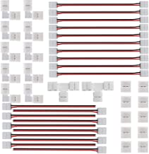 FSJEE 2Pin 8MM LED Connector Kit Includes Includes 2X T Shape, 10X L Shape,10X Gapless Connectors,10X Strip to Strip Jumpe...