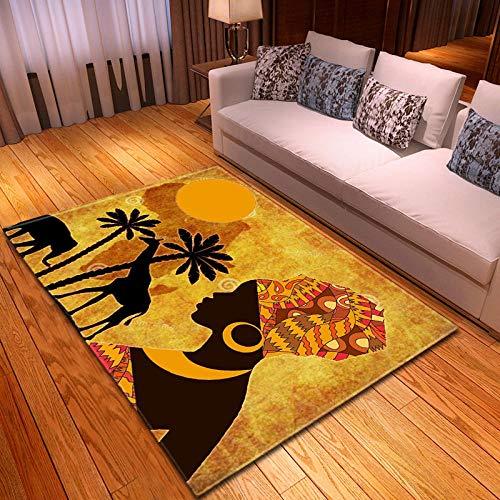 RGBVVM Alfombra Cocina Chica con Turbante Amarillo 140 x 200 cm Alfombra mullida Modernas Alfombra Antideslizante para el hogar, Felpudo Cuadrado, para la decoración de Salas de Estar y dormitorios