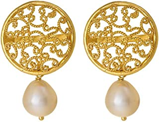 Gehna 18KT Yellow Gold and Pearl Drop Earrings for Women (GHCSER-736)