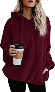 Womens Sherpa Pullover Fuzzy Oversized Hoodie with Pockets Fleece Sweatshirts Outwear