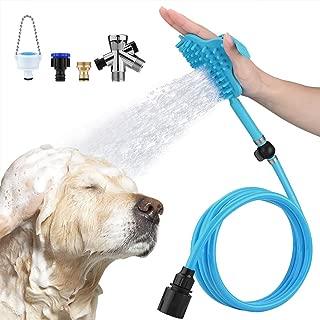 Petacc Dog Bathing Tool Pet Bath Brush Pet Shower Sprayer Pet Shower Attachment with 3 Faucet Adapters, Bathtub Outdoor Garden Compatible