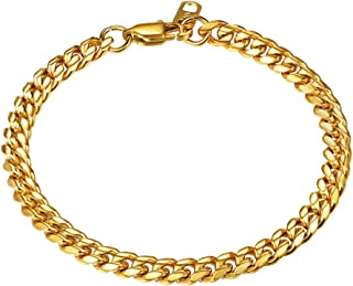 Men Figaro Chain Bracelet for Men 18K Gold Plated Stainess Steel/Black Hand Wrist Link Jewelry for Women, 6mm Width 19CM/2...