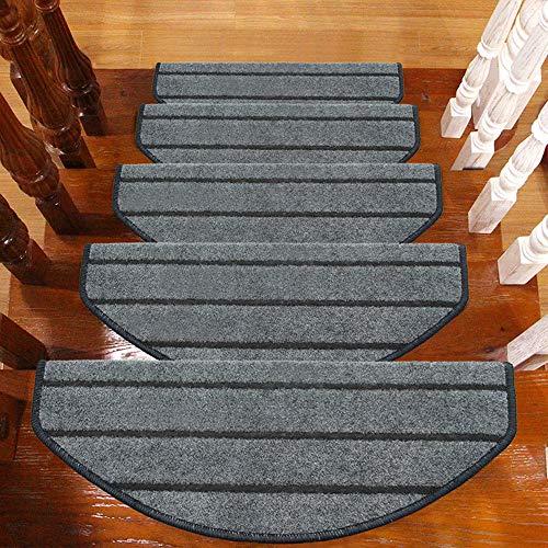 TOUCHFIVE Klettverschluss Klebend Treppenteppich Stufenmatte Treppenstufen Matten | Halbrund | - 15 Stück für Raumspartreppen/Wendeltreppen (Grau gestreift, 65 * 24+3cm)