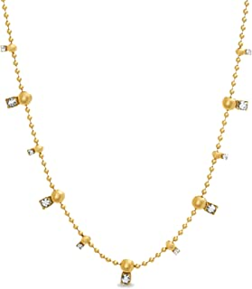 Steve Madden Women's Rhinestone Station Yellow Gold-Tone Ball Chain Necklace, One Size