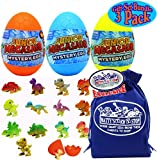 Schylling Junior Megasaur Dinosaur (Dino) Mystery Egg Figures Blue, Yellow & Orange Gift Set Bundle with Bonus Matty s Toy Stop Storage Bag - 3 Pack (Assorted)