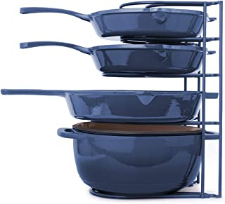 Heavy Duty Pan Organizer, Extra Large 5 Tier Rack - Holds Cast Iron Skillets, Dutch Oven, Griddles - Durable Steel Constru...