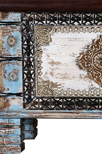 Orientalische Truhe Kiste aus Holz Cemile - 116cm | Vintage Sitzbank mit Aufbewahrung für den Flur | Aufbewahrungsbox mit Deckel im Bad | Betttruhe als Kissenbox oder Deko im Schlafzimmer - 4