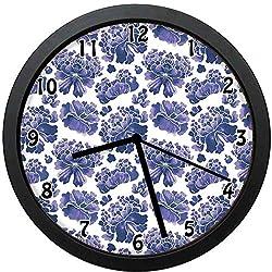 Akalidebaih Watercolor Chinese Ethnic Lotus Purple Mallow Flowers Chakra-Decorative Wall Clock,10inch-The Best Gift