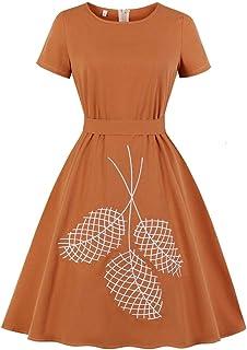 Wellwits Women's Leaf Embroidery Tie Waist 1950s Vintage Cotton Dress