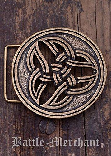 Battle Merchant Cinturón Hebilla-Celta dreifalt Larp gürtelschließe Vikingo Medieval Plata o Bronce, marrón