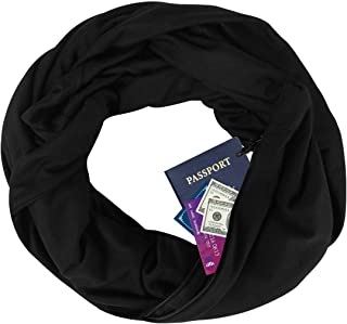 Zipper Pocketed Travel Scarf,Infinity Scarf with Pocket