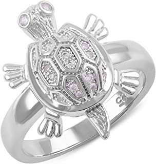 Sterling Silver Cz Turtle Ring (Size 4-9)