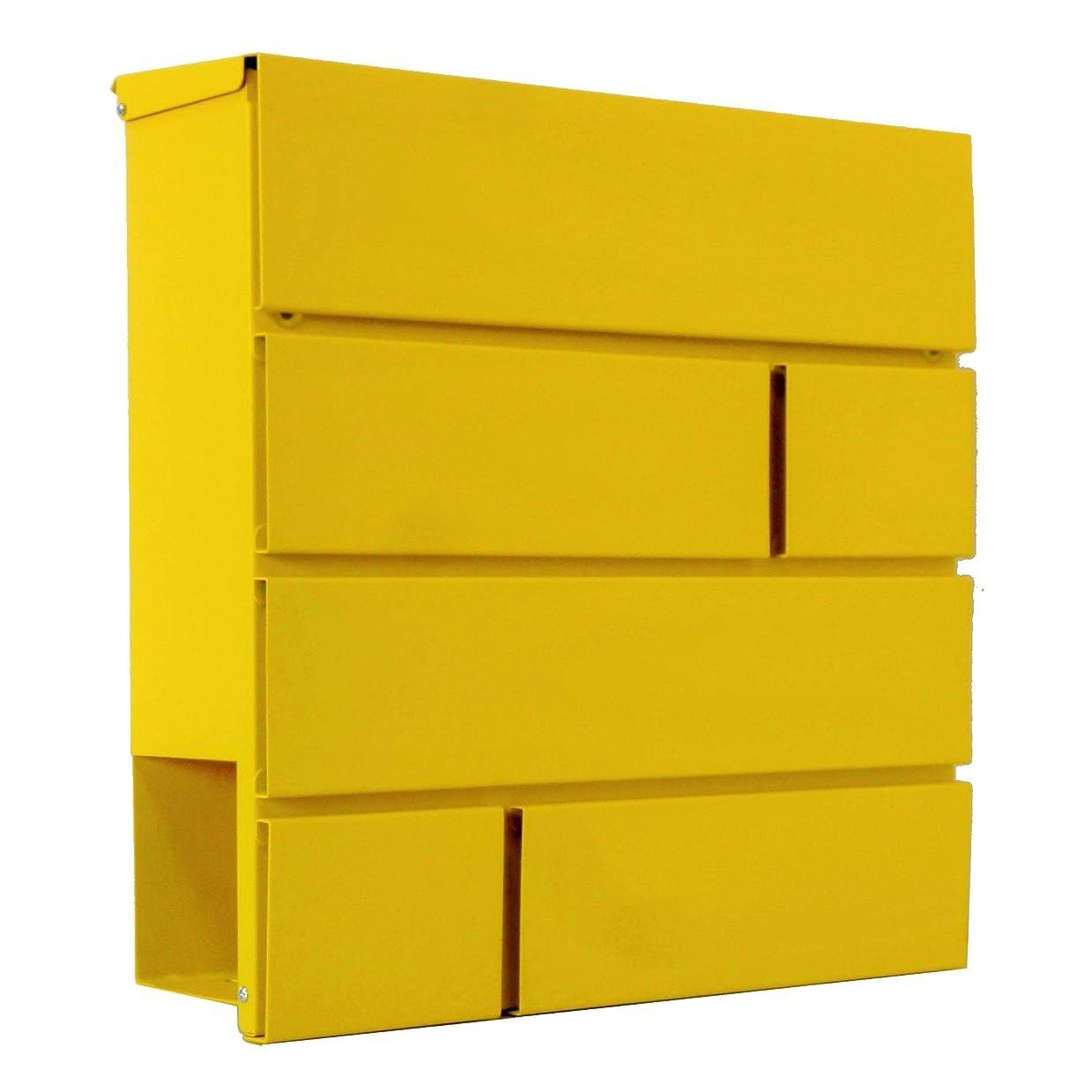 抵抗力があるソロ例外おしゃれな郵便ポスト郵便受けmailbox大型 鍵付きマグネット付きイエロー黄色ポストpm234