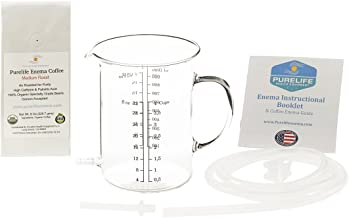 Purelife Coffee Enema Kit - Non Toxic Glass Enema Bucket - 1 Qt - No Plastic Parts
