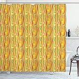 ABAKUHAUS Floral Cortina de Baño, Ondas Coloridas Sesgado Vertical, Material Resistente al Agua Durable Estampa Digital, 175 x 200 cm, Multicolor