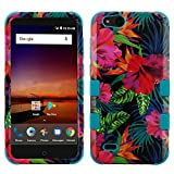 TUFF Hybrid Series Case for ZTE ZFive C LTE Z558VL, ZFive G LTE Z557BL, Blade Vantage, Avid 4, Avid 557 - Military Grade Shockproof Protective Case (Hibiscus Flowers) and Atom Cloth