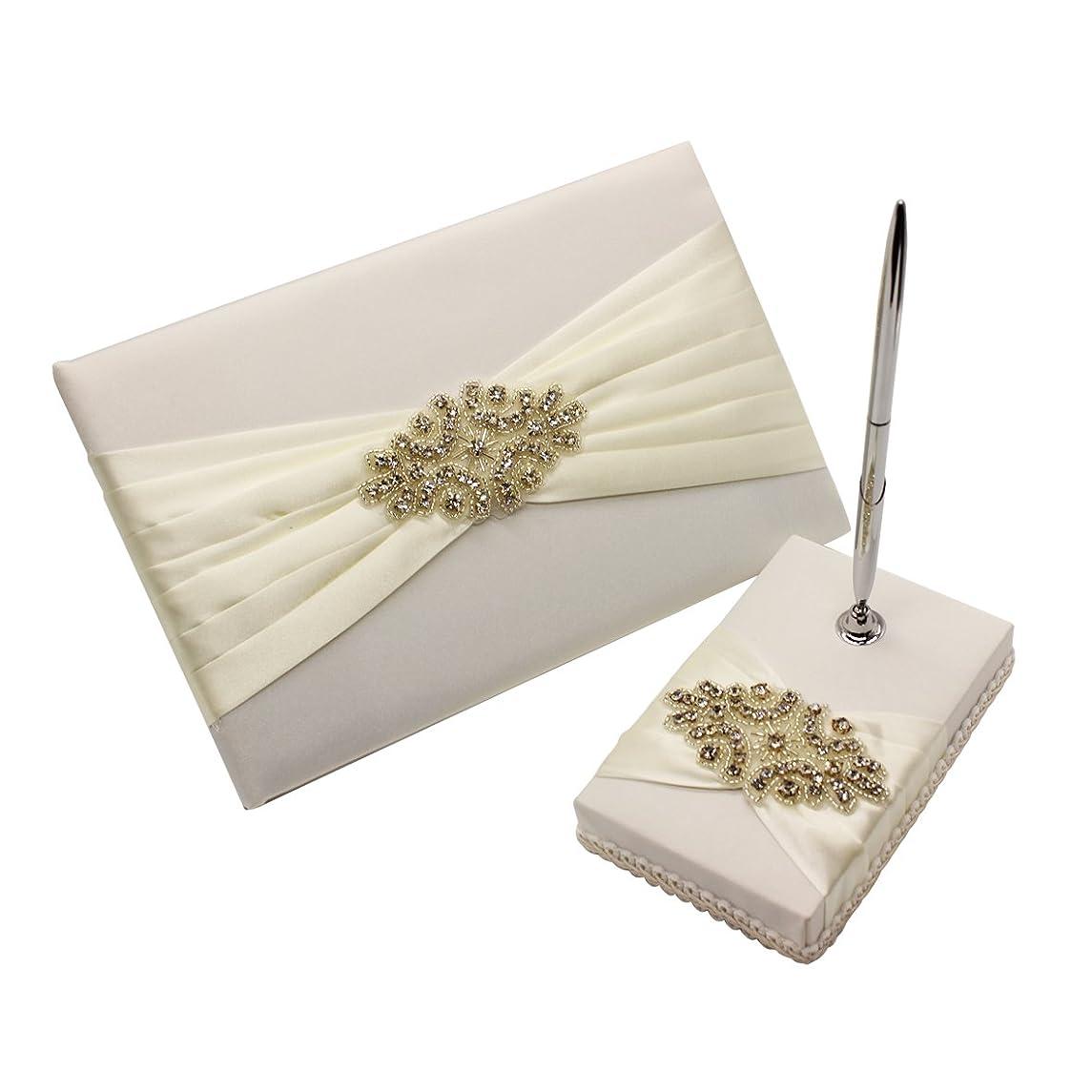 Meiysh Satin Bow Rhinestone Flower White Base Wedding Accessories Guest Book and Pen Set with Rhinestone (Ivory White)