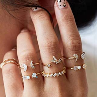 YERTTER Men 7 pcs Vintage Gold Ring Set Open Rings Set Rhinestone Crystal Rings Set Joint Knuckle Ring Set Finger Rings St...