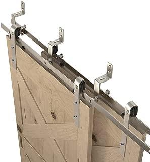 WINSOON 4FT-18FT Modern Sliding Bypass Barn Door Hardware 304 Stainless Steel Double Doors Kit Cabinet Closet System Silver (6.6FT Bypass Hardware Kit)