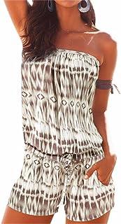 cec7897cd99 WINSON Summer Women Fashion Printed Strapless Jumpsuits Beach Boho  One-Pieces S-Xl