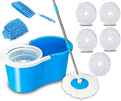 Shivonic® Mop Bucket Magic Spin Mop Bucket Double Drive Hand Pressure with,1 Carpet Brush,1 Gloves 5 Microfiber Mop Head Standard Color Blue