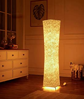 Cantonape Softlighting Home Minimalist Floor Lamp White Fabric Shade, 2 RGB Color Changes LED Smart Bulbs Included WiFi Smart Compatible with Amazon Alexa Google Home