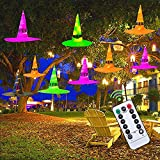 Halloween Decorations Outdoor 9Pcs Hanging Lighted Witch Hat Decorations 39.4ft Halloween Lights Remote Control Halloween Decor with Timer for Outdoor Halloween Decorations, Tree, Porch, Yard