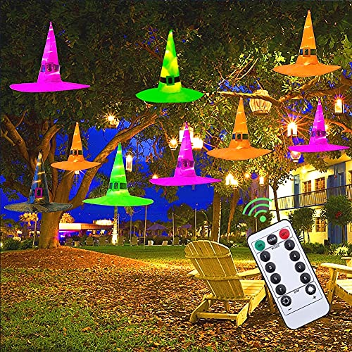 MAOYUE Halloween Decorations Outdoor 8Pcs Hanging Lighted Glowing Witch Hat Decorations 36ft Halloween Lights String Battery Operated Halloween Decor with...