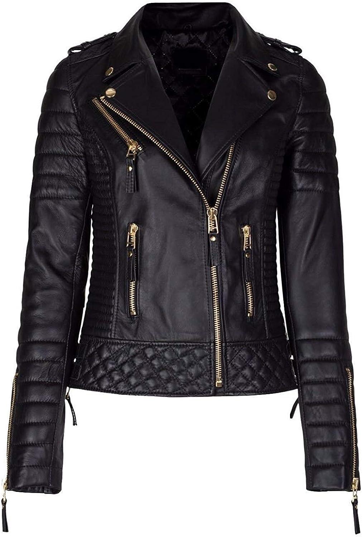 Leather Shop Women Diamond Quilted Kay Leather Black Biker Jacket  Women Plus Size Black Leather Jacket