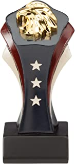 Etch Workz Patriotic Eagle Award Trophy - Red White Blue Resin Award with Gold Tone Eagle Head - 6 inch
