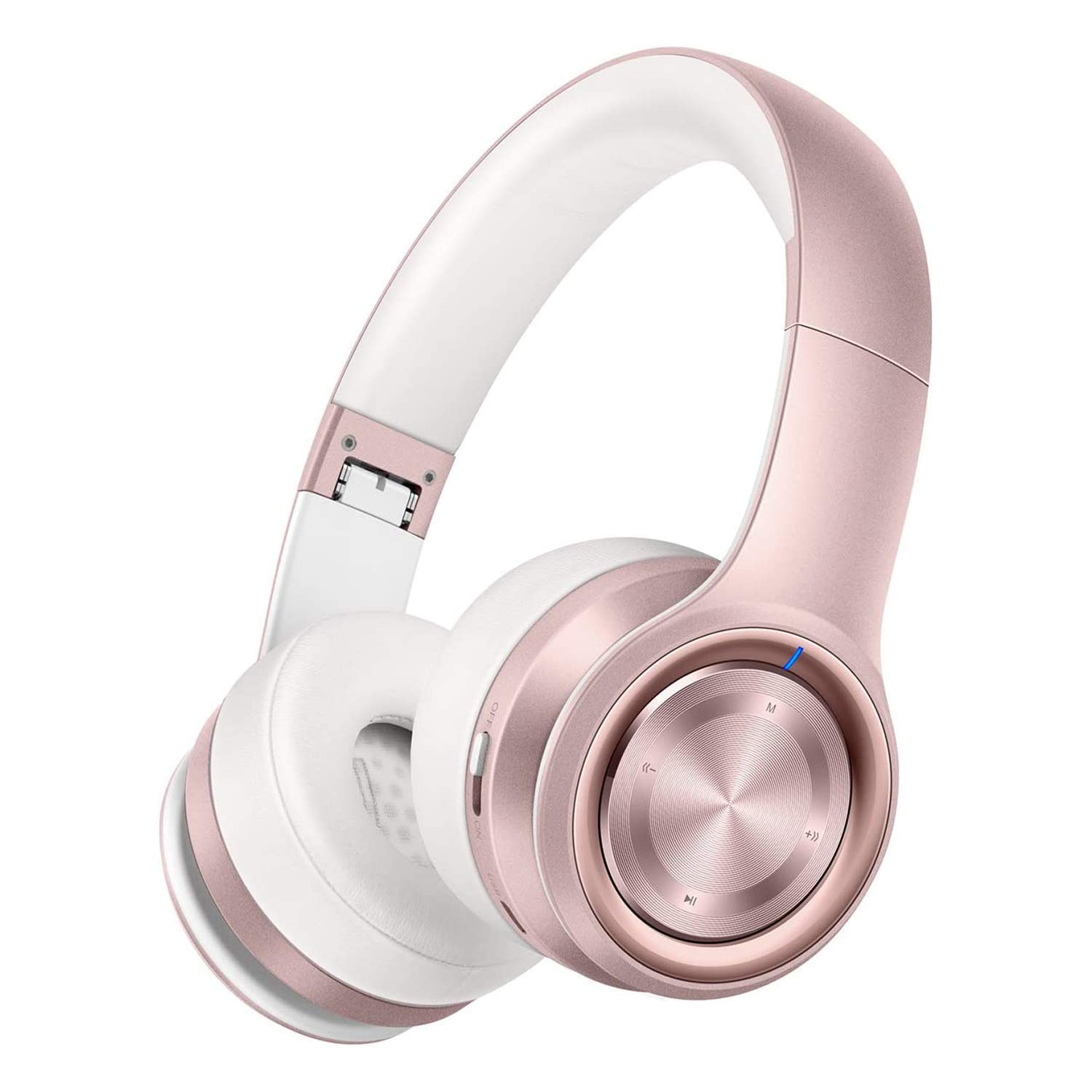 P26 Bluetooth Headphones Over Ear, Girl's Fashion Headphones 80H Playtime Wireless Hi-Fi Stereo Noise Cancelling Cordless Headset with Deep Bass and Mic, Support FM/TF for TV/Smart Phone/PC/Pad Pink