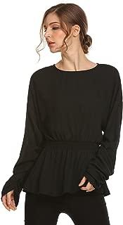 Women Smocked Empire Waist Ruffle Peplum Top Chiffon Long Sleeve Blouse