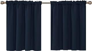 Deconovo Texture Embossed Valances for Window Kitchen Valance Rod Pocket Blackout Valance Curtain 52x36 Inch Navy Blue 2 Panels