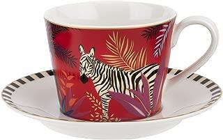 Sara Miller London for Portmeirion Tahiti Collection Teacup & Saucer - Zebra