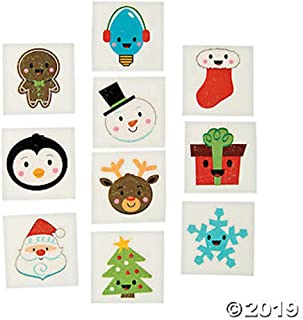 Fun Express Holiday Christmas Glitter Temporary Tattoos Party Favours Stocking Fillers - 72 pcs