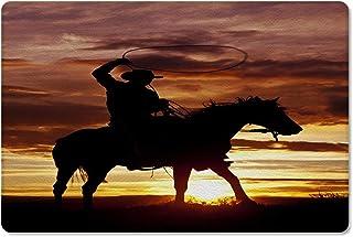 Meet 1998 Leather Doormat Cowboy Ride Horse Non-Slip Rubber Floor Mats Western Theme Durable Outdoor Entrance Rug Easy Cle...
