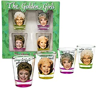 Golden Girls Shot Glasses   Fun Drinking Games   Set of 4 Collectible Glasses   Perfect For Parties, Game Night, Bachelor, Bachelorette Party, College Graduation and Birthdays